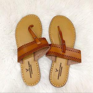 American Eagle Tan Thong Flip Flop Sandals Size 8